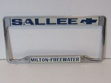 Vintage Milton Sallee Chevrolet License Plate Frame Metal Embossed Holder Chevy