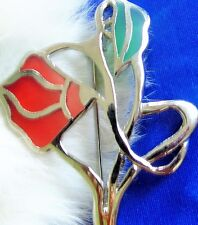 Stained Glass Windows art type Plexiglass Inlay Flower Gold plated Brooch pin di