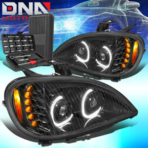 FOR 2004-2017 FREIGHTLINER COLUMBIA FULL LED BLACK PROJECTOR HEADLIGHTS+TOOLS
