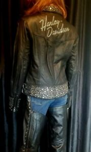 Womens Harley Davidson ROXY Jacket and Chaps. RARE FIND Super Bling Med/Small