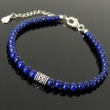 Men's Women Bracelet 4mm Lapis Lazuli 925 Sterling Silver Bead Clasp Link 1317