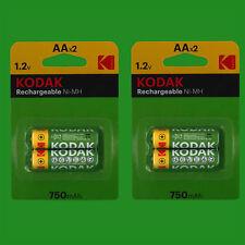 4x Aa Kodak 1.2V Níquel Metálico ( NI-MH ) Pilas Recargables 750mAh Capacidad