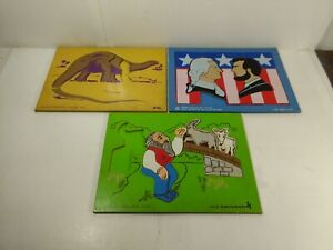Vintage Judy Brontosaurus President's Day Goats Wooden Puzzle Set Of 3 t6034S