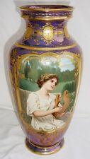 Gorgeous Monumental Royal Vienna Jeweled Portrait Vase! Hand Painted! Must See!