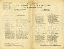"""""""LA MADELON DE LA VICTOIRE de Lucien BOYER + 5"""" Partition originale WILLEMS 1918"""