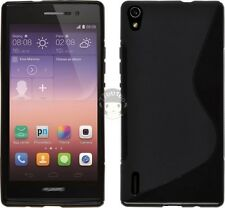 S Line Wave Soft Gel TPU Silicone Case Cover Skin of black for Huawei Ascend P7