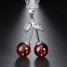 Genuine 925 Sterling Silver Red Agate Cherry Pendant Necklaces for Women Party