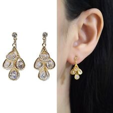 Four Cubic Zirconia Bridal Wedding CZ Gold Invisible Clip On Drop Earrings