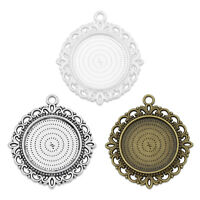 """25mm 1 inch 1"""" Round Double Sided Pendant Tray Blank Cameo Cabochon Base 20 M139"""