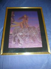 Egyptian Women Riding Two Tigers 8X10 Framed