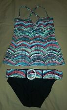 EUC~Captiva Bathing Suit Womens Tankini With Belted Bottoms  size small (8)