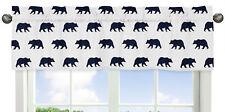 Boys Rustic Woodland Window Valance Curtain For Sweet Jojo Navy Bear Bedding Set