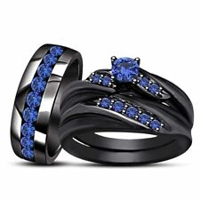 14K Black Gold Over Sapphire Engagement Matching Band His Hers Wedding Trio Set
