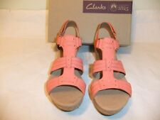 CLARKS Annadel Orchid  Orange Coral Leather Wedge Sandal Sz 9.5 EU 41 NIB $99