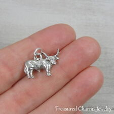 Silver Longhorn Bull Charm - Cattle Cow Farm Animal Pendant NEW