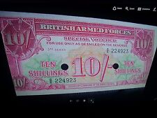 Collection British Military Currency 1-5-10 Shilling and 5000 Peso Note Uruguay