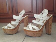 Bebe Lemon Paulina White High Heel Sandals Size 8