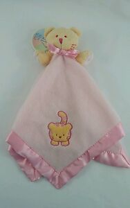 Blankets And Beyond Pink Tiger Cat Baby Security Blanket Lovey Bow Satin Edges