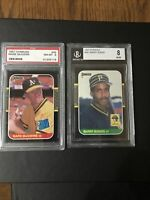 1987 Donruss Mark McGwire PSA 8 NM-MT and Barry Bonds BGS 8 NM-MT 2-card lot