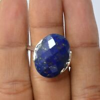 Lapis Lazuli Gemstone Ring Size 9 925 Solid Sterling Silver Handmade Jewelry