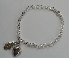 Sterling Silver Oak Leaf and Acorn Charm Bracelet
