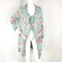Altar'd State Womens M/L Ski Lodge Sweater Grey Pink Open Front Long Cardigan