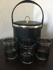New listing Georges Briard Black /Gold Ice Bucket And Glasses Snake Pattern
