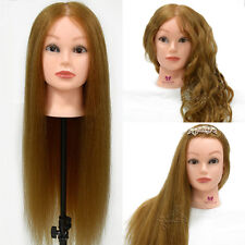 """100% Real Hair 26"""" Hairdressing Training Head Practice Salon Mannequin + Clamp"""