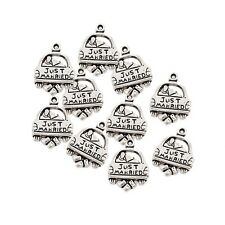 10pcs Couple Swing JUST MARRIED Text Bead Charms Tibetan Silver Pendant Fit DIY