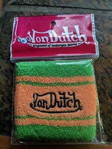 NEW Von Dutch Sweatband / Wristband Authentic Brite Orange & Green - 1 Per Pack