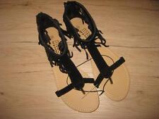 Super Damenschuhe Sandaletten  in schwarz mit Fransen Gr. 39  Neu