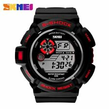 Digital Men Military Army Watch Water Resistant LED Sports Watch Red