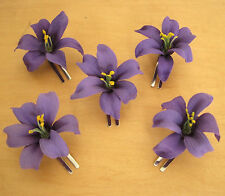 "5 Piece Lot Small 2"" Purple Lily Silk Flower Hair Clips, Prom, Dance, Bridal"