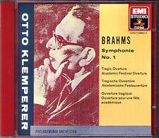 Otto KLEMPERER: BRAHMS Symühony No.1 Academic Festival Tragic OVERTREW EMI CD