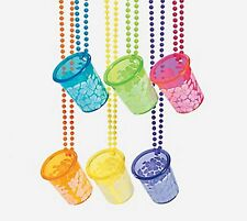 HIBISCUS SHOT GLASSES ON BEAD NECKLACES NEW (LOT OF 12 SETS)