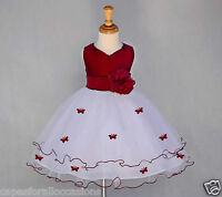 WHITE PAGEANT BUTTERFLY WEDDING FLOWER GIRL DRESS 6M-18M 2-3T 4 5 5T 6 7 8 9 10