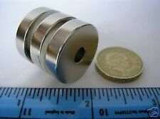"2 of 1"" x 1/4"" with 1/4"" Hole Strong Neodymium Ring Magnets NdFeB  Rare Earth"