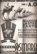 PUBBLICITA' 1936 PELLICOLE LASTRE FOTO AGFA IMPERO A.O. ASMARA CAROVANA CAMMELLI