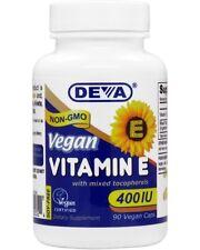Deva Vegan Natural Vitamin E 400iu Mixed Tocopherols, 90 Tabs, EXP 11/2019