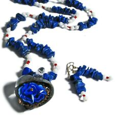 Blue Floral Glass and Lapis Bead Jewelry Set By SoniaMcD