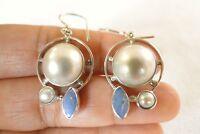 White Mabe Pearl Blue Australian Opal 925 Sterling Silver Hook Earrings