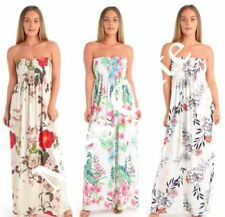 Viscose Floral Dresses for Women with Strapless/Bandeau
