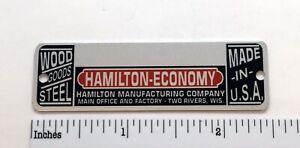 Hamilton Economy Drafting Table Metal Identification Badge - Reproduction
