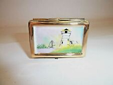 Peint Main Limoges Trinket-Lighthouse Puzzle Box
