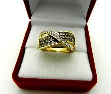ASH Chocolate Brown Diamond Ring Wave Fashion Band 14k Yellow Gold (1.50 ct.tw)