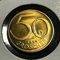 1964 AUSTRIA 50 GROSCHEN  BRILLIANT UNCIRCULATED COIN