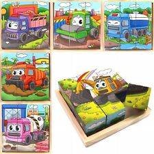 Play Toy Cube Blocks For Kids Toddler Educational Puzzle - Truck Series