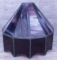 """Vtg Handmade? Purple Stained Glass Bar Light Lamp Shade Only 10"""" Tall, 12"""" Wide"""