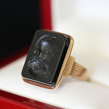 Antique Intaglio Onyx ring, featuring carved soliders head and crafted in rose g