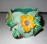 Mid-Century 3D Pottery Flower Pot Confetti Cactus Vase Rose Bowl Kitsch VTG